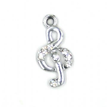 11mm x 24mm Treble cleff charm with crystal